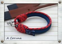 A Coruna  SNB-SS-15-415 / A Coruna  Sötétkék & Piros & Sötétkék / Navy blue & Red & Navy blue  Exkluzív, kézzel készített vitorlás karkötők. Exclusive handmade sailor's fashion accessories.